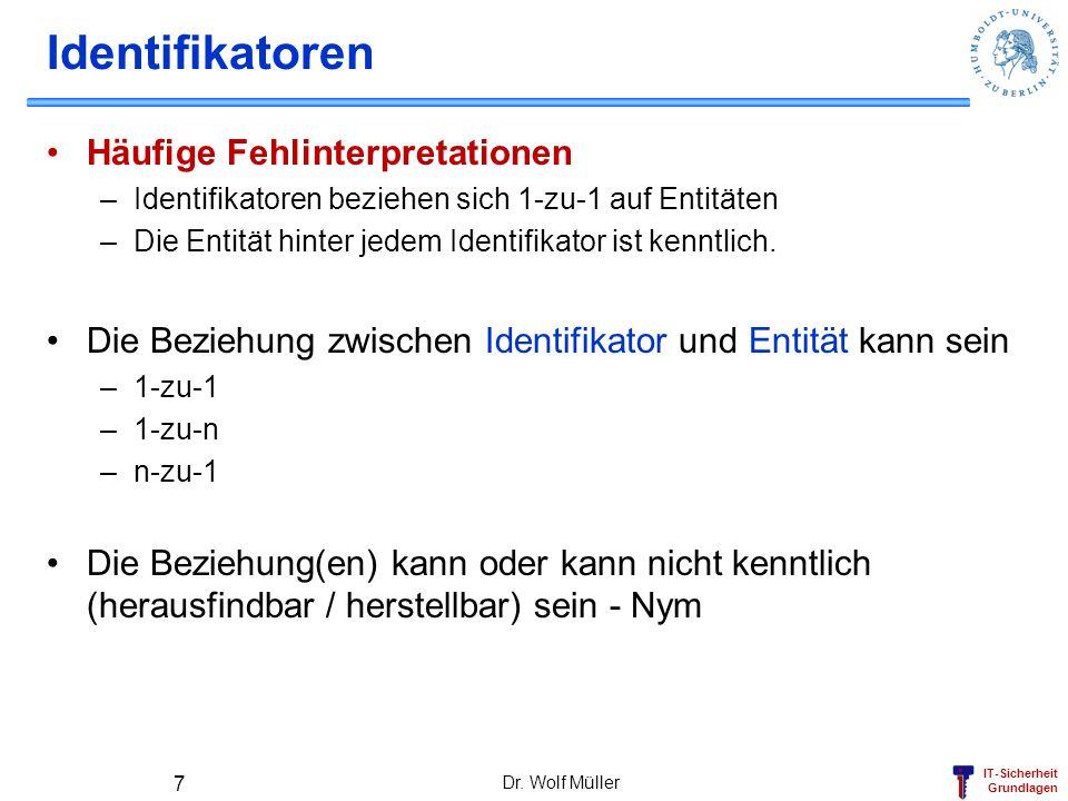 IT-Sicherheit Grundlagen Challenge-Response: Symmetrisch (2) Client (Chipkarte) Schlüssel K CID, CID, E Basis Login: C=E(RAND, K CID ) 1.CID 2.RAND 3.C Dr.