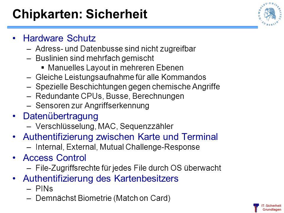 IT-Sicherheit Grundlagen Chipkarten: Sicherheit Hardware Schutz –Adress- und Datenbusse sind nicht zugreifbar –Buslinien sind mehrfach gemischt Manuel