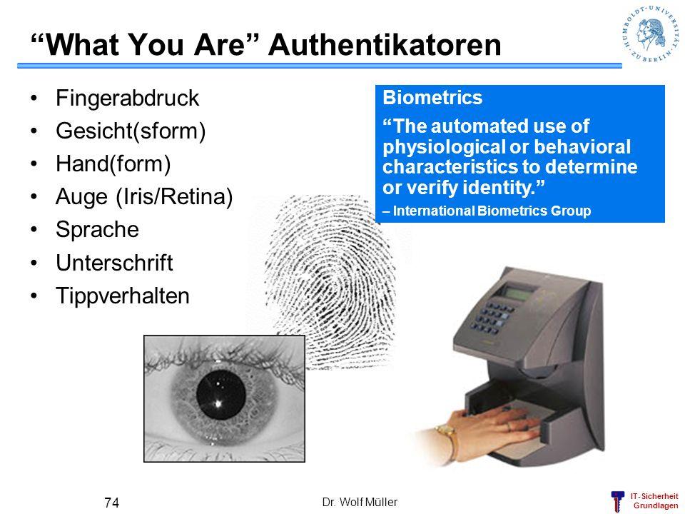 IT-Sicherheit Grundlagen Dr. Wolf Müller 74 What You Are Authentikatoren Fingerabdruck Gesicht(sform) Hand(form) Auge (Iris/Retina) Sprache Unterschri