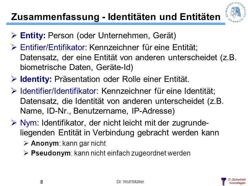 IT-Sicherheit Grundlagen Dr. Wolf Müller 8 Entity: Person (oder Unternehmen, Gerät) Entifier/Entifikator: Kennzeichner für eine Entität; Datensatz, de