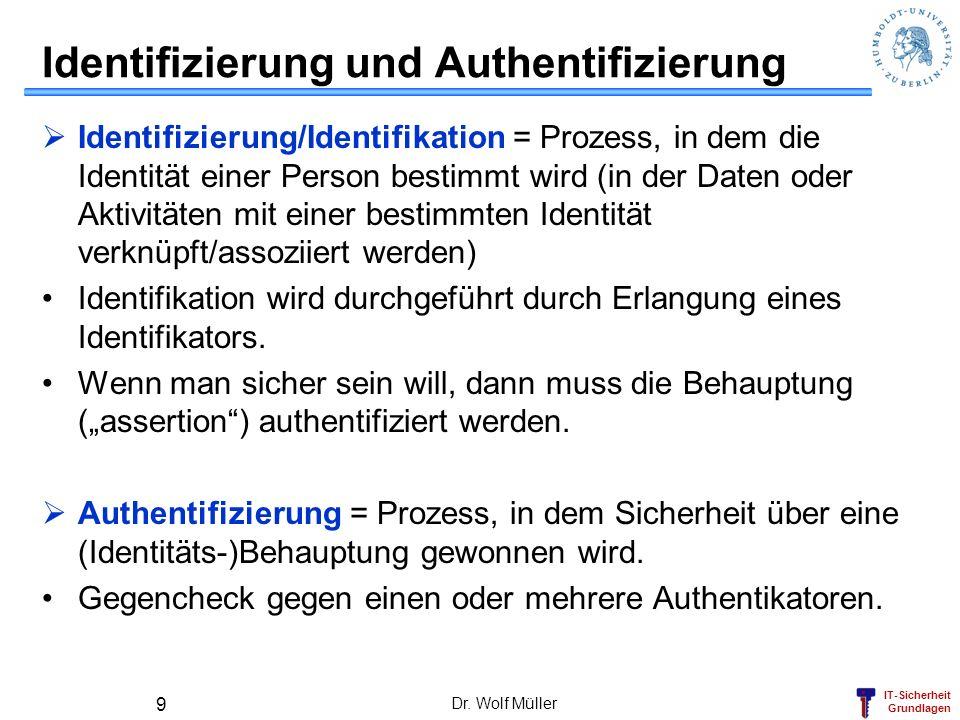 IT-Sicherheit Grundlagen Dr. Wolf Müller 9 Identifizierung und Authentifizierung Identifizierung/Identifikation = Prozess, in dem die Identität einer