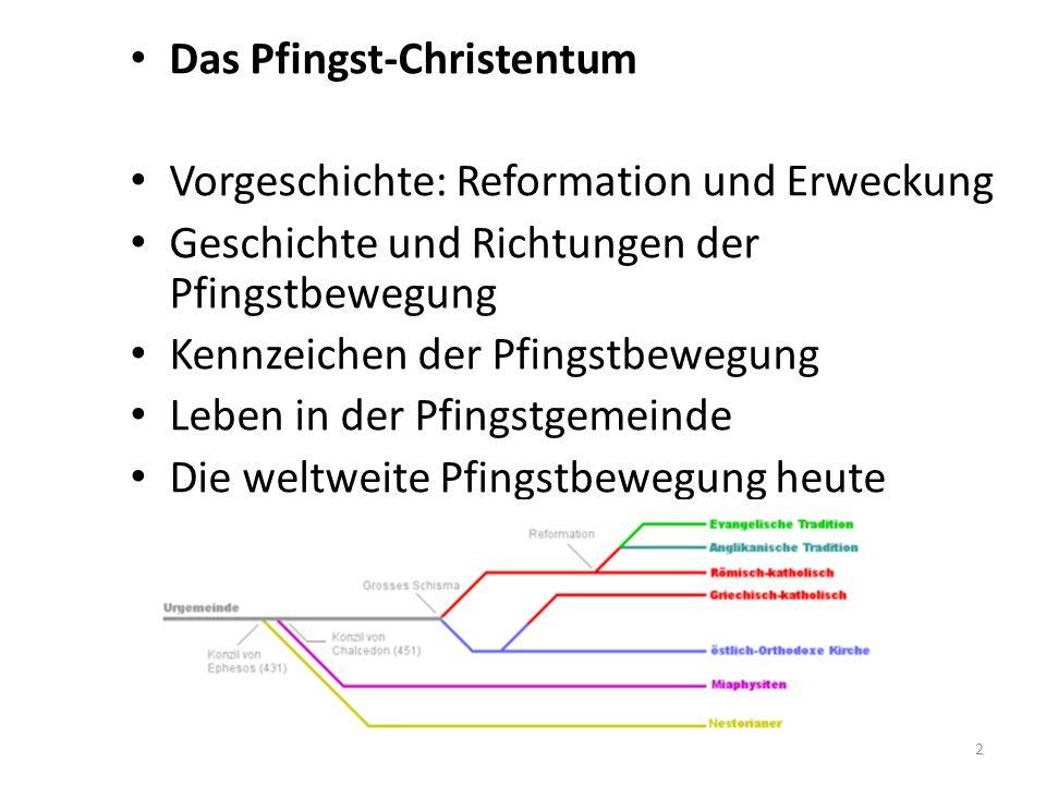 2 Das Pfingst-Christentum Vorgeschichte: Reformation und Erweckung Geschichte und Richtungen der Pfingstbewegung Kennzeichen der Pfingstbewegung Leben