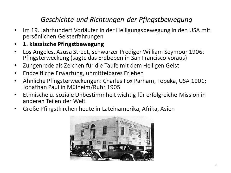 Geschichte und Richtungen der Pfingstbewegung Im 19. Jahrhundert Vorläufer in der Heiligungsbewegung in den USA mit persönlichen Geisterfahrungen 1. k