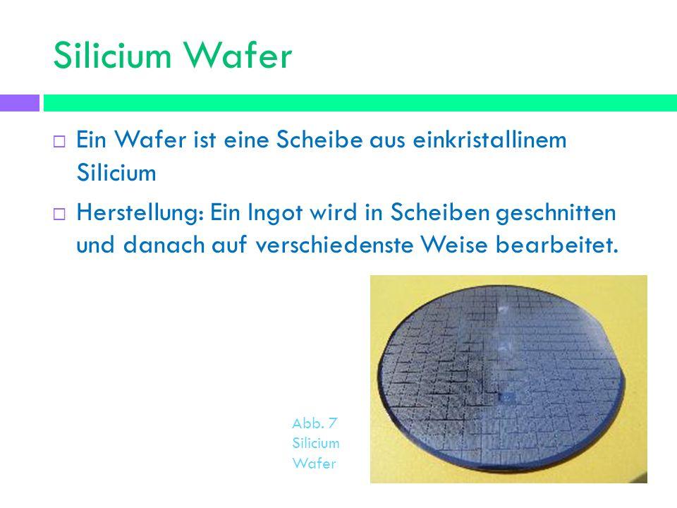 Silicium Wafer Ein Wafer ist eine Scheibe aus einkristallinem Silicium Herstellung: Ein Ingot wird in Scheiben geschnitten und danach auf verschiedens