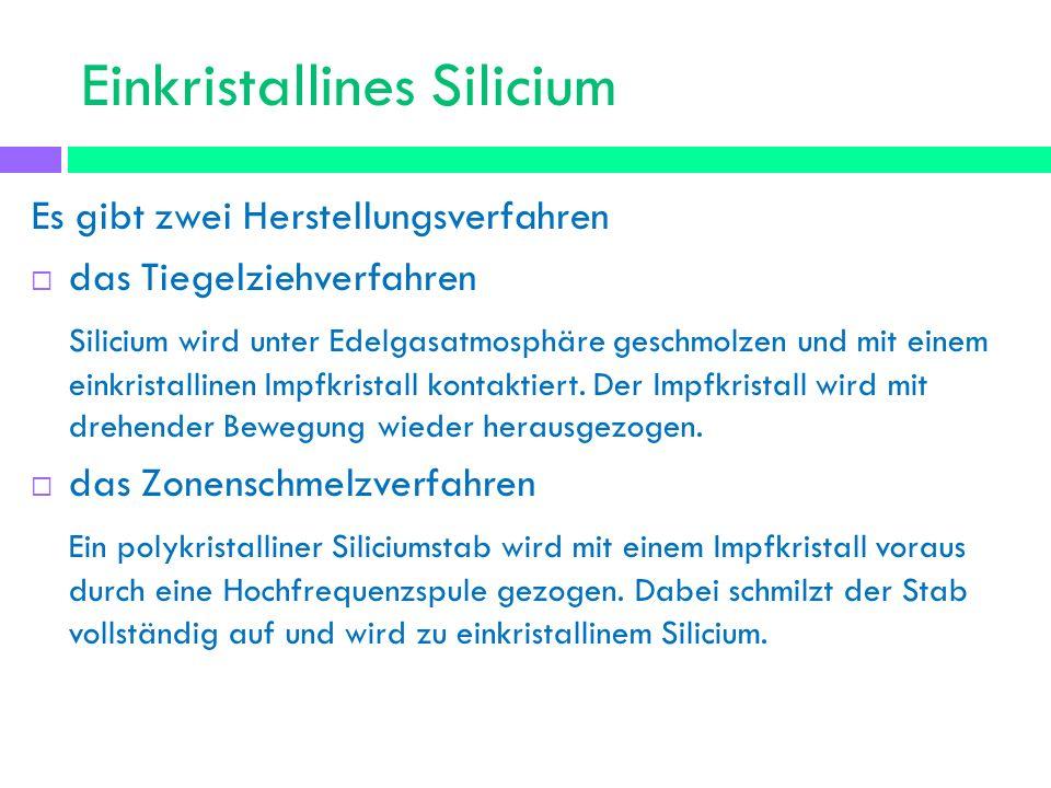 Einkristallines Silicium Nach den Verfahren hat das einkristalline Silicium die Form eines Ingot.