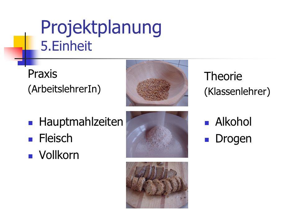 Projektplanung 5.Einheit Praxis (ArbeitslehrerIn) Hauptmahlzeiten Fleisch Vollkorn Theorie (Klassenlehrer) Alkohol Drogen