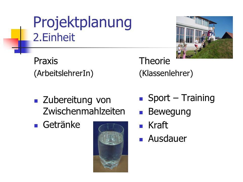 Projektplanung 2.Einheit Praxis (ArbeitslehrerIn) Zubereitung von Zwischenmahlzeiten Getränke Theorie (Klassenlehrer) Sport – Training Bewegung Kraft