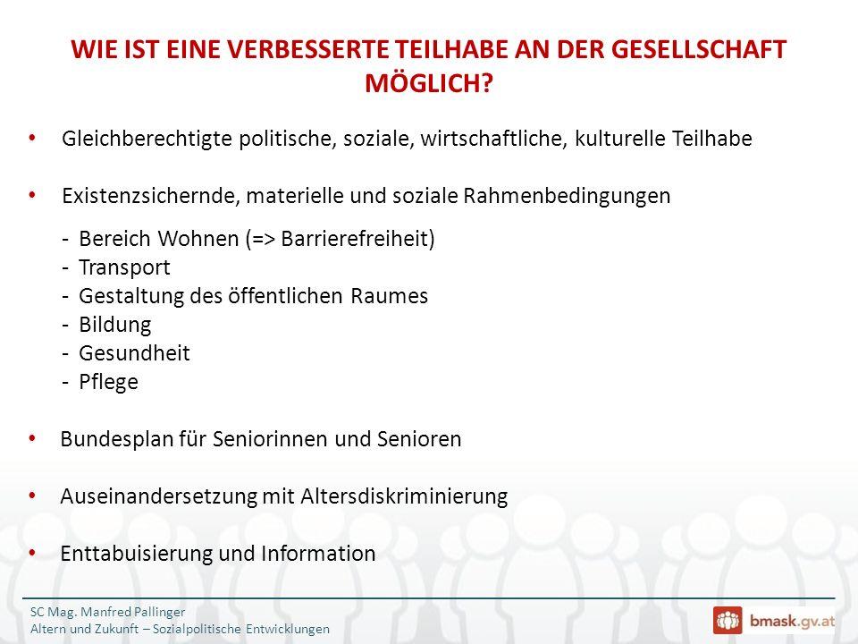 SC Mag. Manfred Pallinger Altern und Zukunft – Sozialpolitische Entwicklungen Gleichberechtigte politische, soziale, wirtschaftliche, kulturelle Teilh