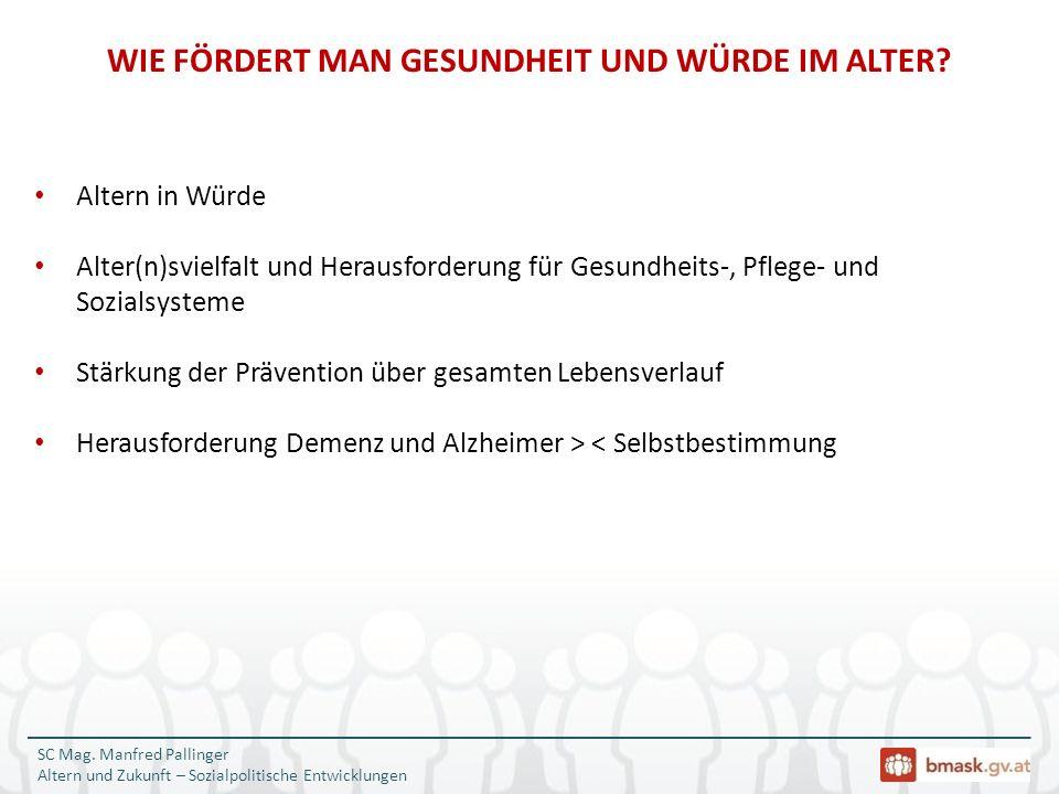 SC Mag. Manfred Pallinger Altern und Zukunft – Sozialpolitische Entwicklungen Altern in Würde Alter(n)svielfalt und Herausforderung für Gesundheits-,