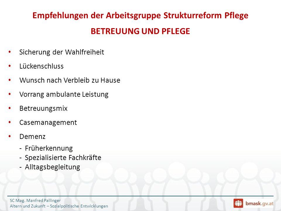 SC Mag. Manfred Pallinger Altern und Zukunft – Sozialpolitische Entwicklungen Sicherung der Wahlfreiheit Lückenschluss Wunsch nach Verbleib zu Hause V