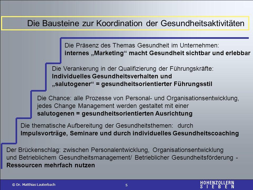 5 © Dr. Matthias Lauterbach Die Bausteine zur Koordination der Gesundheitsaktivitäten Die Präsenz des Themas Gesundheit im Unternehmen: internes Marke