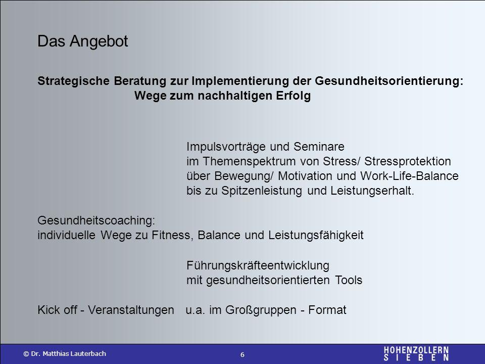 6 © Dr. Matthias Lauterbach Das Angebot Strategische Beratung zur Implementierung der Gesundheitsorientierung: Wege zum nachhaltigen Erfolg Impulsvort