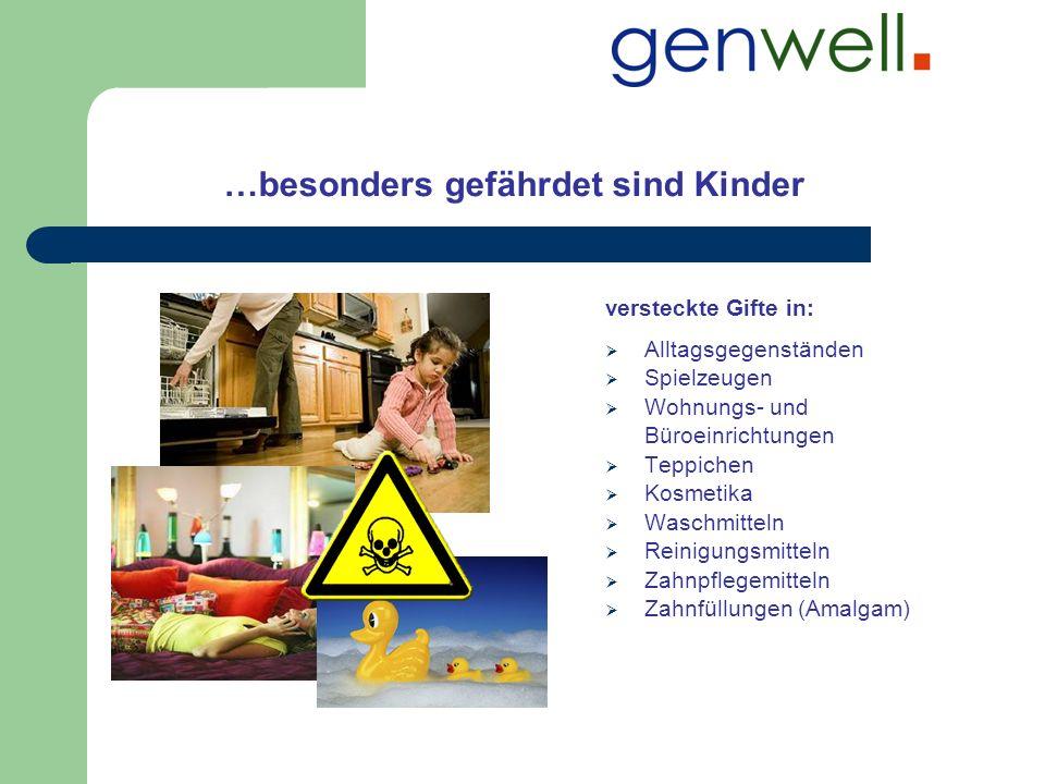 …besonders gefährdet sind Kinder versteckte Gifte in: Alltagsgegenständen Spielzeugen Wohnungs- und Büroeinrichtungen Teppichen Kosmetika Waschmitteln