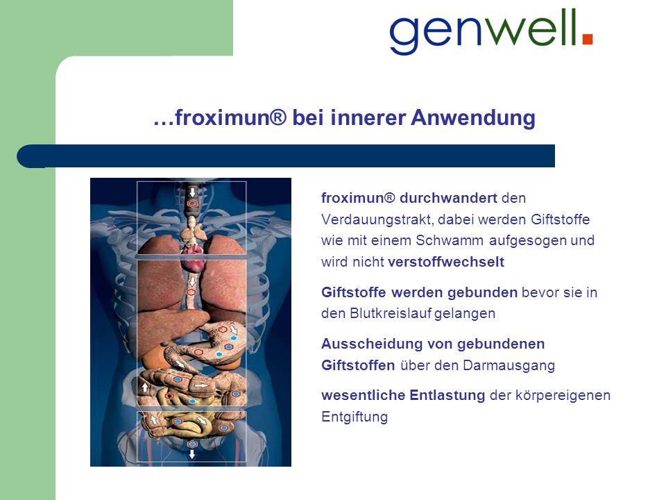 …froximun® bei innerer Anwendung froximun® durchwandert den Verdauungstrakt, dabei werden Giftstoffe wie mit einem Schwamm aufgesogen und wird nicht v