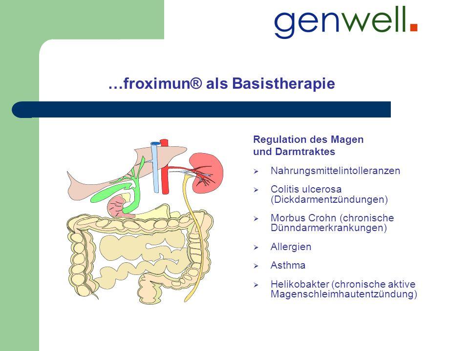 …froximun® als Basistherapie Regulation des Magen und Darmtraktes Nahrungsmittelintolleranzen Colitis ulcerosa (Dickdarmentzündungen) Morbus Crohn (ch
