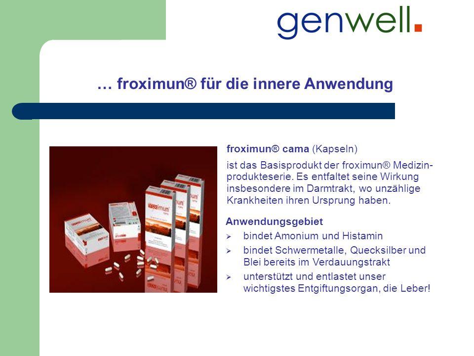 … froximun® für die innere Anwendung Anwendungsgebiet bindet Amonium und Histamin bindet Schwermetalle, Quecksilber und Blei bereits im Verdauungstrak