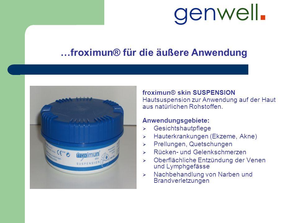 …froximun® für die äußere Anwendung Anwendungsgebiete: Gesichtshautpflege Hauterkrankungen (Ekzeme, Akne) Prellungen, Quetschungen Rücken- und Gelenks