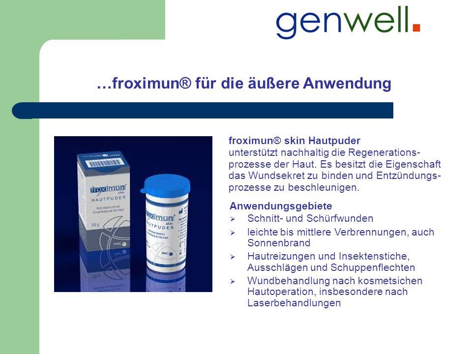 …froximun® für die äußere Anwendung froximun® skin Hautpuder unterstützt nachhaltig die Regenerations- prozesse der Haut. Es besitzt die Eigenschaft d