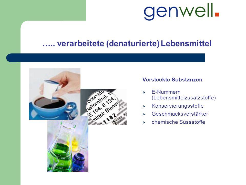 ….. verarbeitete (denaturierte) Lebensmittel Versteckte Substanzen E-Nummern (Lebensmittelzusatzstoffe) Konservierungsstoffe Geschmacksverstärker chem