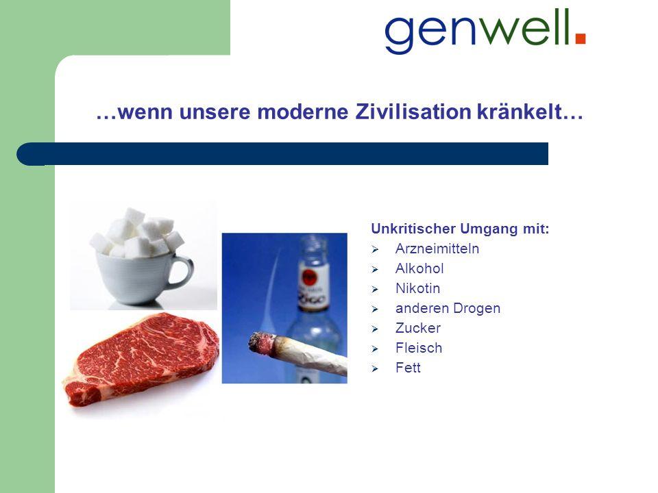…wenn unsere moderne Zivilisation kränkelt… Unkritischer Umgang mit: Arzneimitteln Alkohol Nikotin anderen Drogen Zucker Fleisch Fett