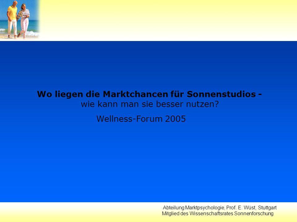 Abteilung Marktpsychologie, Prof. E. Wüst, Stuttgart Mitglied des Wissenschaftsrates Sonnenforschung Wo liegen die Marktchancen für Sonnenstudios - wi