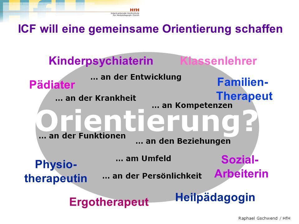 Raphael Gschwend / HfH Kinderpsychiaterin Familien- Therapeut Sozial- Arbeiterin Klassenlehrer Heilpädagogin Pädiater Ergotherapeut Physio- therapeuti