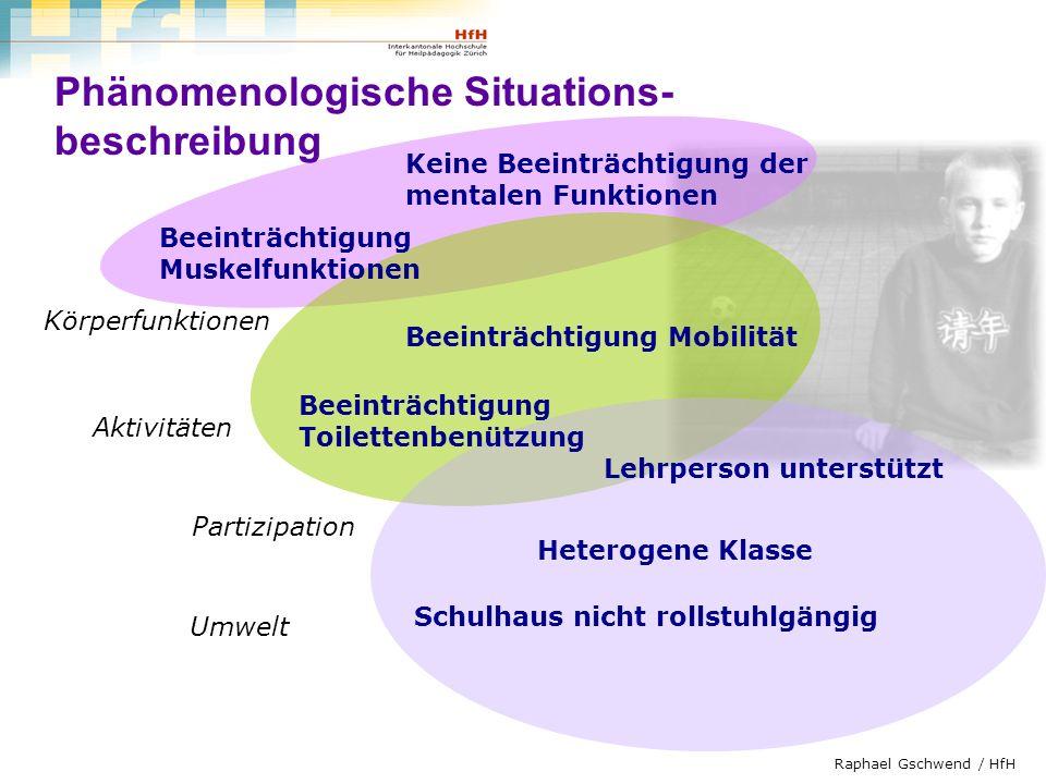 Raphael Gschwend / HfH Zwei Komponenten der ICF Komponenten der Funktionsfähigkeit und Behinderung Körper (Strukturen und Funktionen) Aktivitäten und Partizipation Kontextfaktoren Umweltfaktoren personenbezogene Faktoren