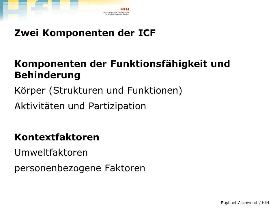 Raphael Gschwend / HfH Gesundheitszustand Körperfunktionen und -strukturen AktivitätenPartizipation Umweltfaktoren personenbezogene Faktoren Modell der Funktionsfähigkeit und Behinderung (ICF; WHO 2001)