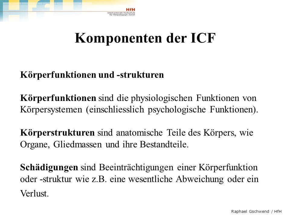 Raphael Gschwend / HfH Komponenten der ICF Aktivitäten und Partizipation Eine Aktivität bezeichnet die Durchführung einer Aufgabe oder Handlung (Aktion) durch einen Menschen.
