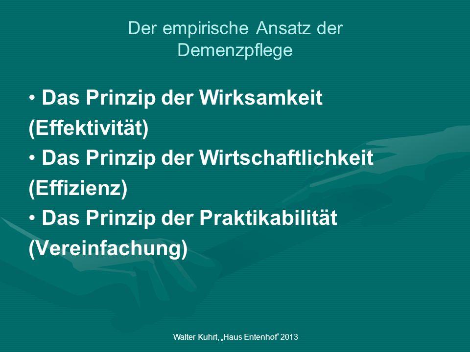Walter Kuhrt, Haus Entenhof 2013 Der empirische Ansatz der Demenzpflege Das Prinzip der Wirksamkeit (Effektivität) Das Prinzip der Wirtschaftlichkeit