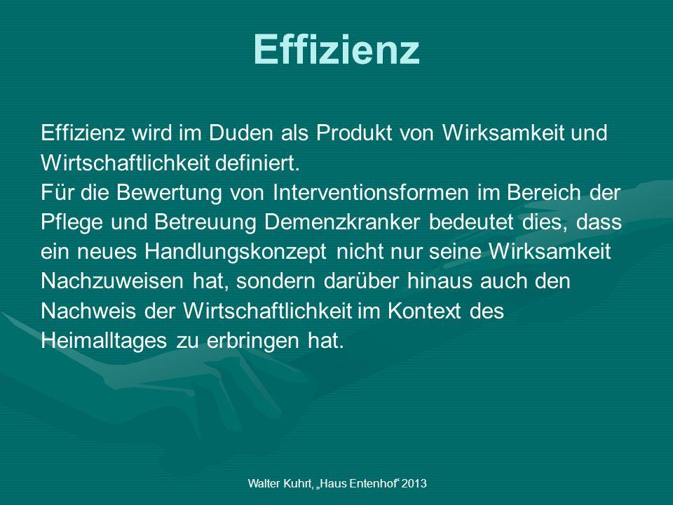 Walter Kuhrt, Haus Entenhof 2013 Effizienz Effizienz wird im Duden als Produkt von Wirksamkeit und Wirtschaftlichkeit definiert. Für die Bewertung von