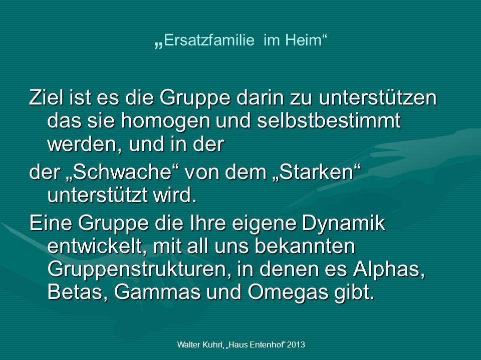 Walter Kuhrt, Haus Entenhof 2013 Ersatzfamilie im Heim Ziel ist es die Gruppe darin zu unterstützen das sie homogen und selbstbestimmt werden, und in