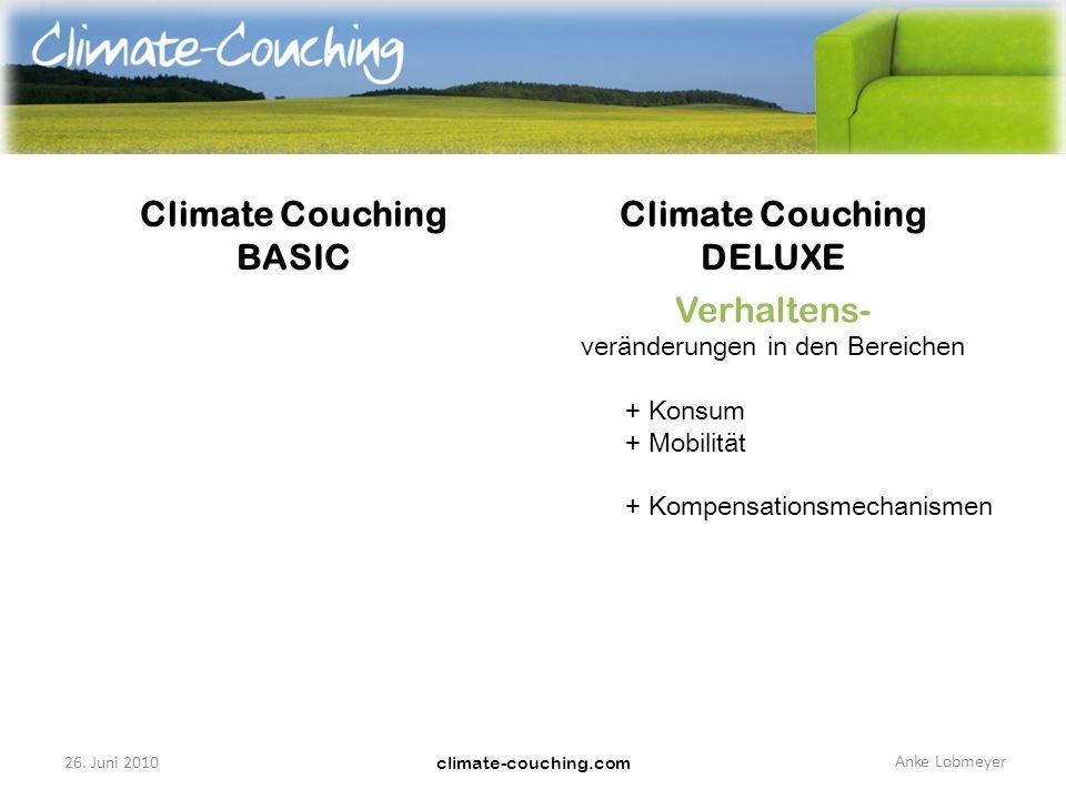 climate-couching.com Climate Couching BASIC Climate Couching DELUXE Infrastruktur- veränderungen in den Bereichen + Strom + Heizung + Mobilität + Geldanlage Verhaltens- veränderungen in den Bereichen + Konsum + Mobilität + Kompensationsmechanismen 26.