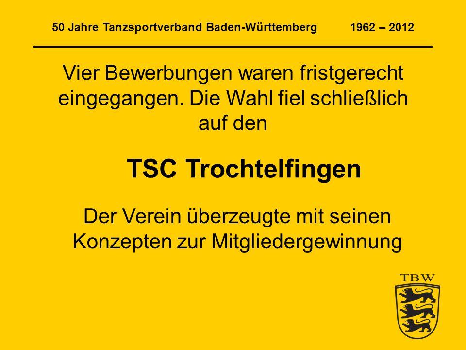 50 Jahre Tanzsportverband Baden-Württemberg 1962 – 2012 ______________________________________________________________ Trophy-Medaillen in Gold, Silber und Bronze für die besten drei der Trophy-Rangliste am Ende der Serie