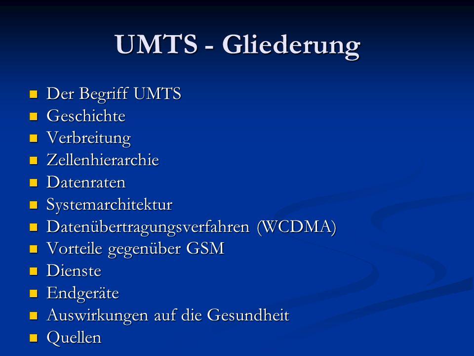 UMTS - Gliederung Der Begriff UMTS Der Begriff UMTS Geschichte Geschichte Verbreitung Verbreitung Zellenhierarchie Zellenhierarchie Datenraten Datenra