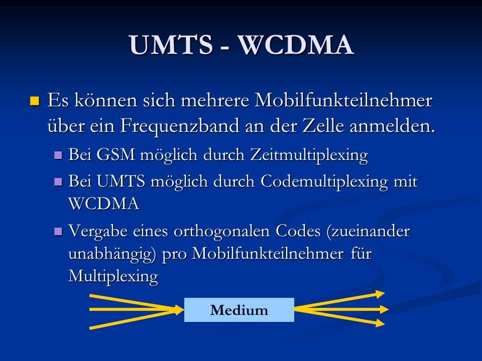UMTS - WCDMA Es können sich mehrere Mobilfunkteilnehmer über ein Frequenzband an der Zelle anmelden. Es können sich mehrere Mobilfunkteilnehmer über e
