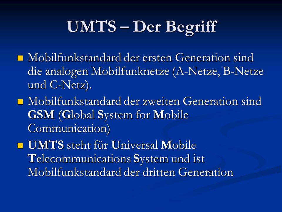 UMTS – Der Begriff Mobilfunkstandard der ersten Generation sind die analogen Mobilfunknetze (A-Netze, B-Netze und C-Netz). Mobilfunkstandard der erste