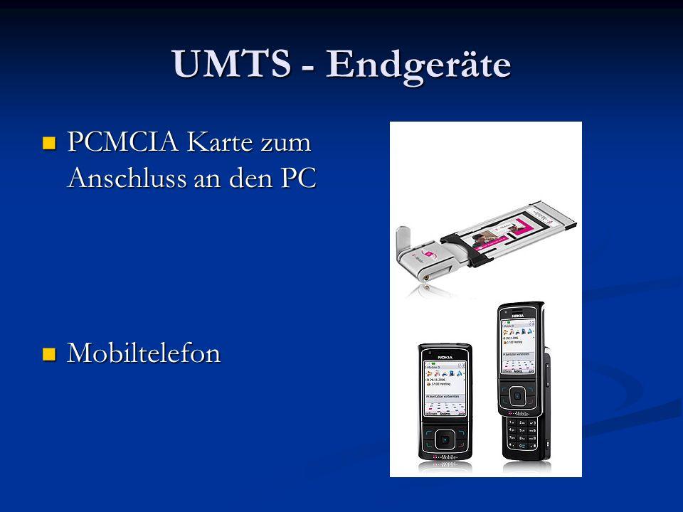 UMTS - Endgeräte PCMCIA Karte zum Anschluss an den PC PCMCIA Karte zum Anschluss an den PC Mobiltelefon Mobiltelefon
