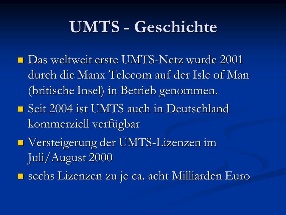 UMTS - Geschichte Das weltweit erste UMTS-Netz wurde 2001 durch die Manx Telecom auf der Isle of Man (britische Insel) in Betrieb genommen. Das weltwe