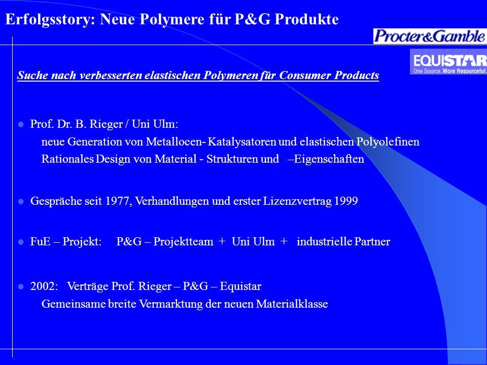 Suche nach verbesserten elastischen Polymeren für Consumer Products Erfolgsstory: Neue Polymere für P&G Produkte Prof. Dr. B. Rieger / Uni Ulm: neue G