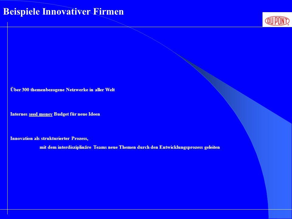 Über 300 themenbezogene Netzwerke in aller Welt Beispiele Innovativer Firmen Internes seed money Budget für neue Ideen Innovation als strukturierter P