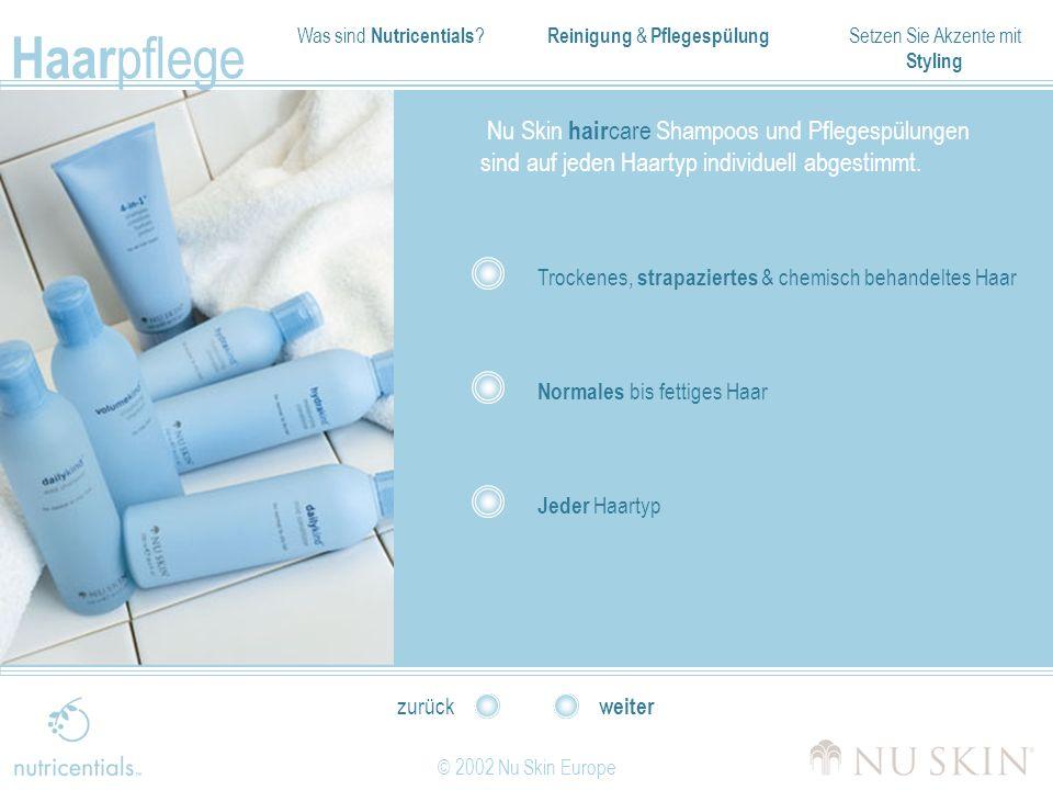 Was sind Nutricentials ? Reinigung & Pflegespülung Setzen Sie Akzente mit Styling Haar pflege © 2002 Nu Skin Europe weiter zurück Nu Skin hair care Sh