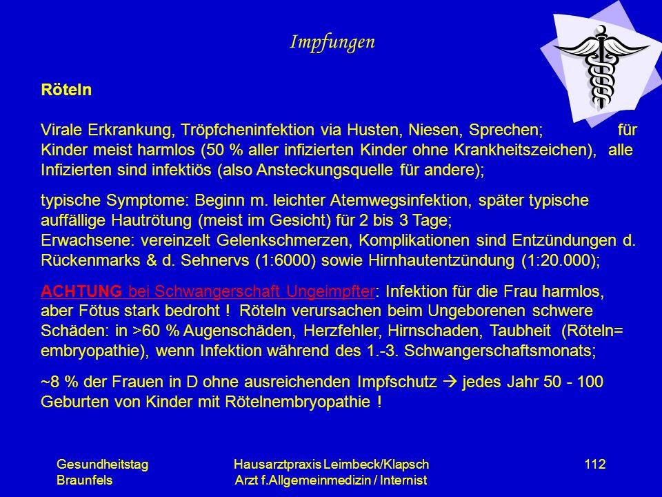 Gesundheitstag Braunfels Hausarztpraxis Leimbeck/Klapsch Arzt f.Allgemeinmedizin / Internist 112 Impfungen Röteln Virale Erkrankung, Tröpfcheninfektio