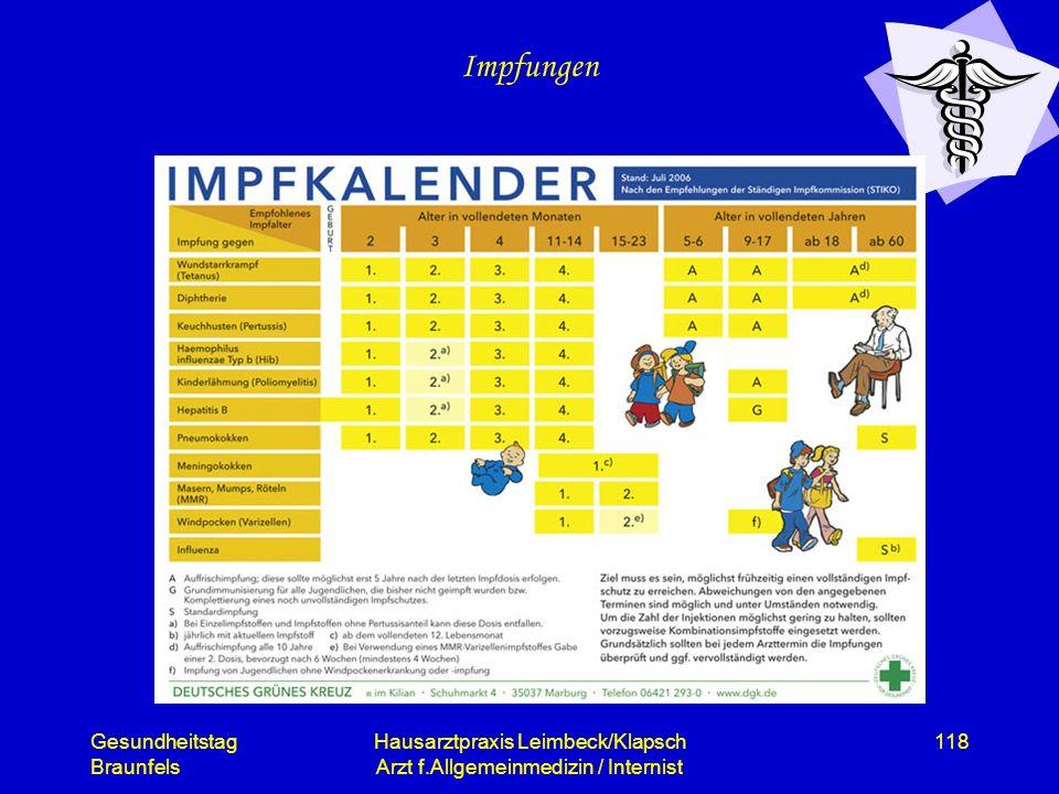 Gesundheitstag Braunfels Hausarztpraxis Leimbeck/Klapsch Arzt f.Allgemeinmedizin / Internist 118 Impfungen