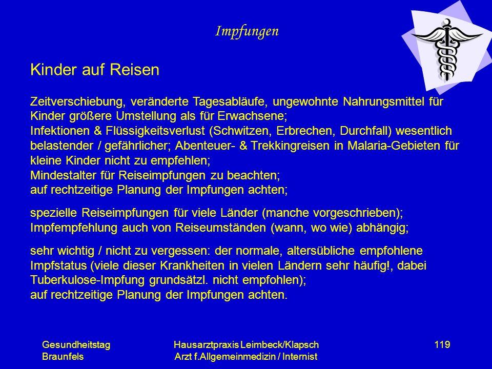 Gesundheitstag Braunfels Hausarztpraxis Leimbeck/Klapsch Arzt f.Allgemeinmedizin / Internist 119 Impfungen Kinder auf Reisen Zeitverschiebung, verände
