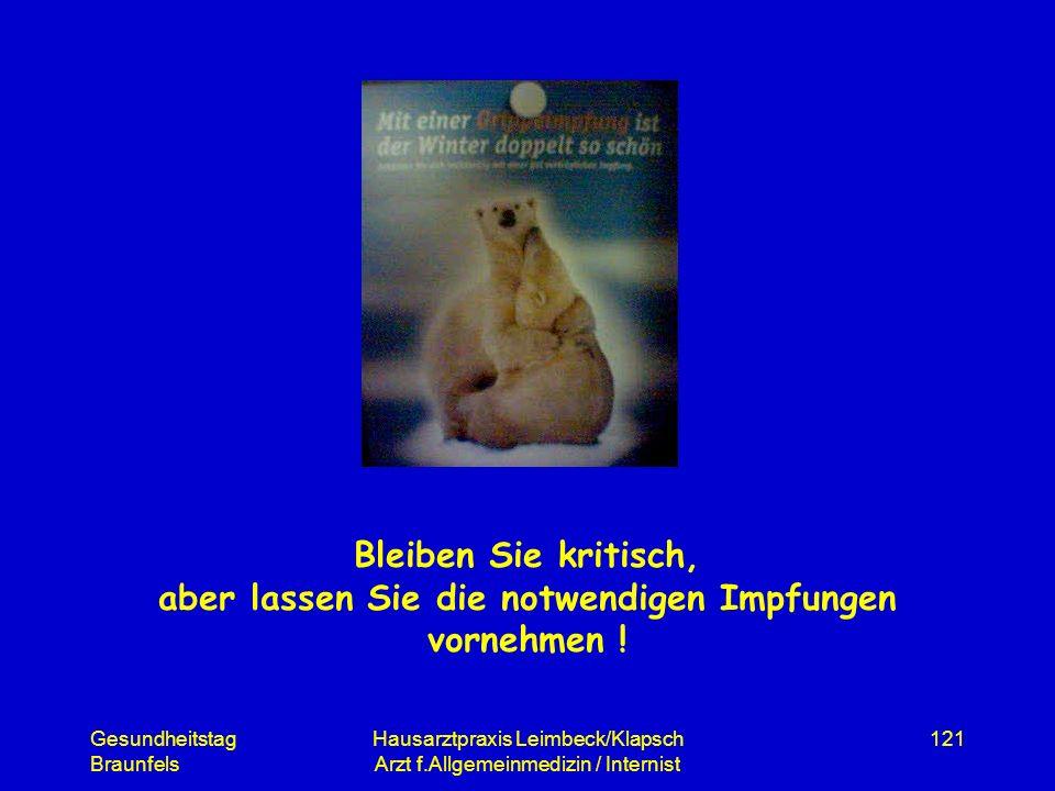 Gesundheitstag Braunfels Hausarztpraxis Leimbeck/Klapsch Arzt f.Allgemeinmedizin / Internist 121 Bleiben Sie kritisch, aber lassen Sie die notwendigen