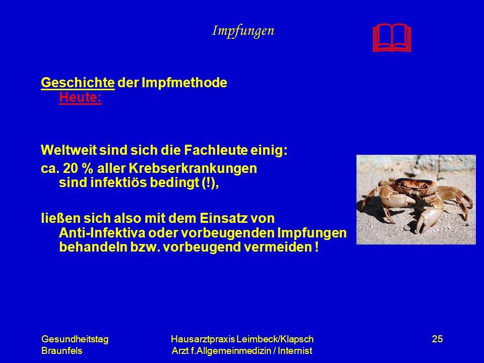 Gesundheitstag Braunfels Hausarztpraxis Leimbeck/Klapsch Arzt f.Allgemeinmedizin / Internist 25 Impfungen Geschichte der Impfmethode Heute: Weltweit s