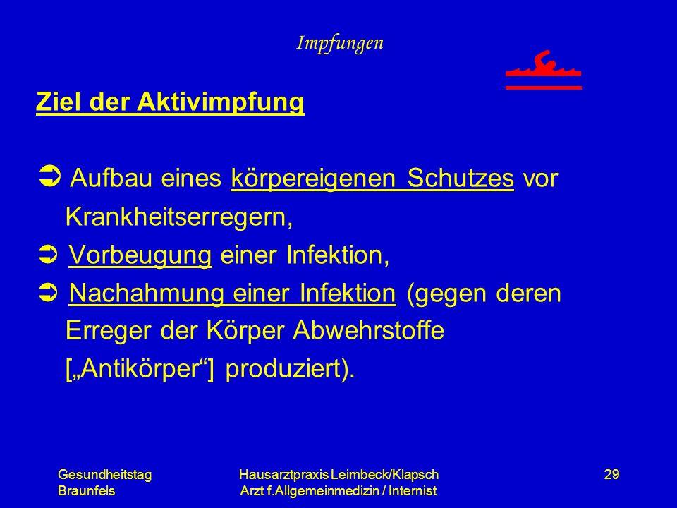 Gesundheitstag Braunfels Hausarztpraxis Leimbeck/Klapsch Arzt f.Allgemeinmedizin / Internist 29 Impfungen Ziel der Aktivimpfung Aufbau eines körpereig