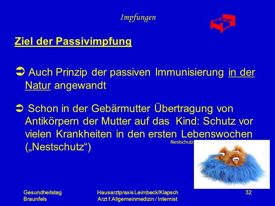 Gesundheitstag Braunfels Hausarztpraxis Leimbeck/Klapsch Arzt f.Allgemeinmedizin / Internist 32 Impfungen Ziel der Passivimpfung Auch Prinzip der pass