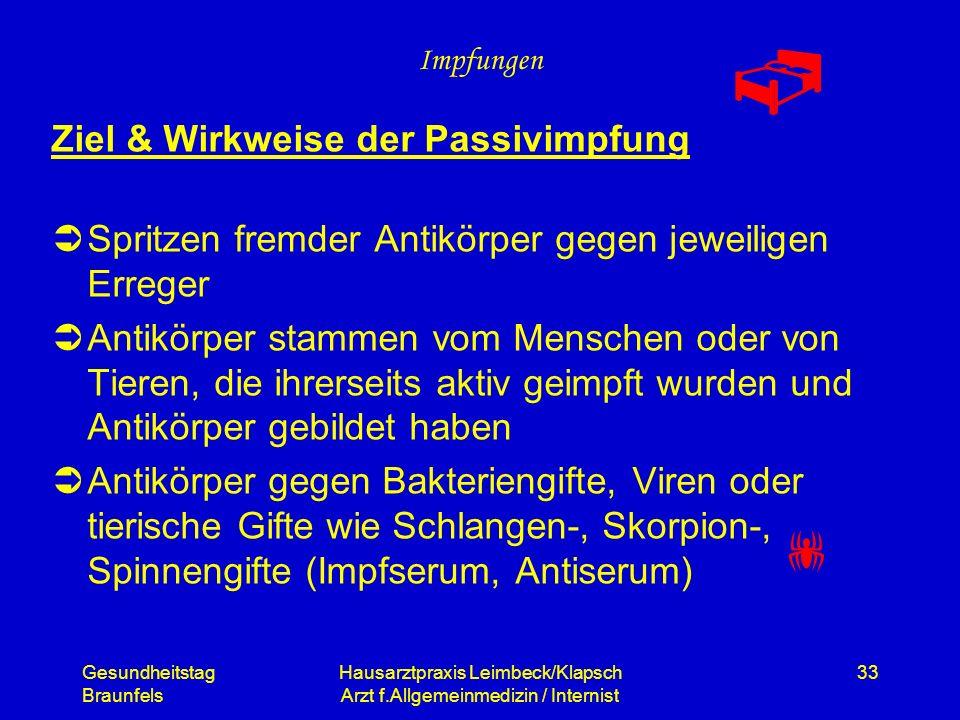 Gesundheitstag Braunfels Hausarztpraxis Leimbeck/Klapsch Arzt f.Allgemeinmedizin / Internist 33 Impfungen Ziel & Wirkweise der Passivimpfung Spritzen